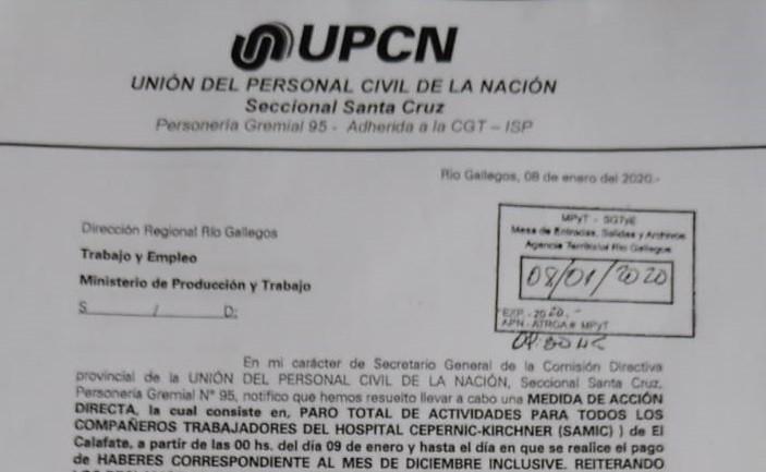 SAMIC. Trabajadores de UPCN de paro por tiempo indeterminado