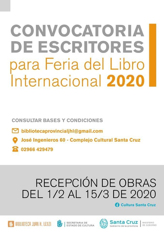 Feria del Libro 2020: Convocatoria para escritores santacruceños