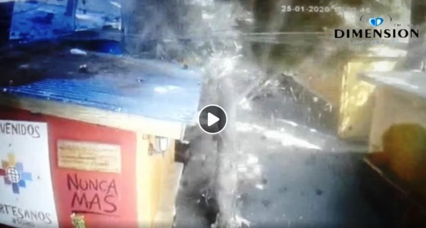 VIDEO. Impactante. Enorme rama cayó sobre el Paseo Artesanal