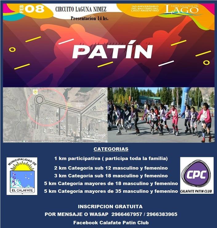El sábado se corre el Patín Carrera del Lago Argentino