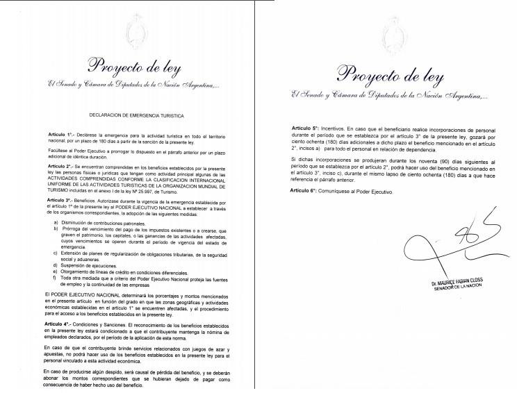 """Argentina: ya está en el Congreso el proyecto de """"emergencia turística"""""""