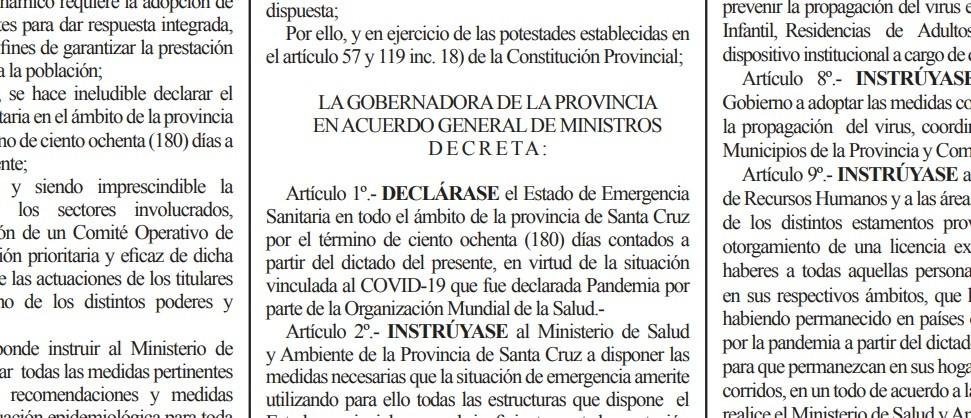AHORA. Se declaró el Estado de Emergencia Sanitaria en Santa Cruz