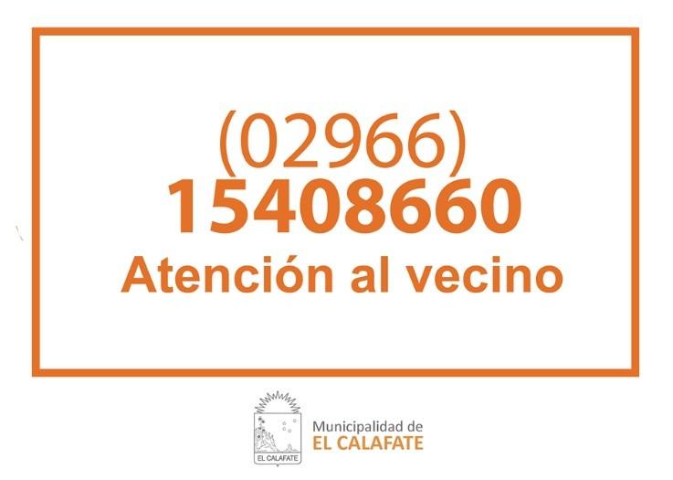 La Municipalidad de El Calafate habilitó un número telefónico de Atención al Vecino