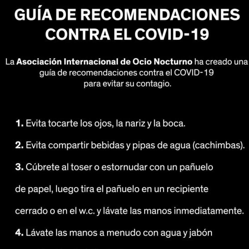 Coronavirus: consejos para locales de ocio, restaurantes y discotecas