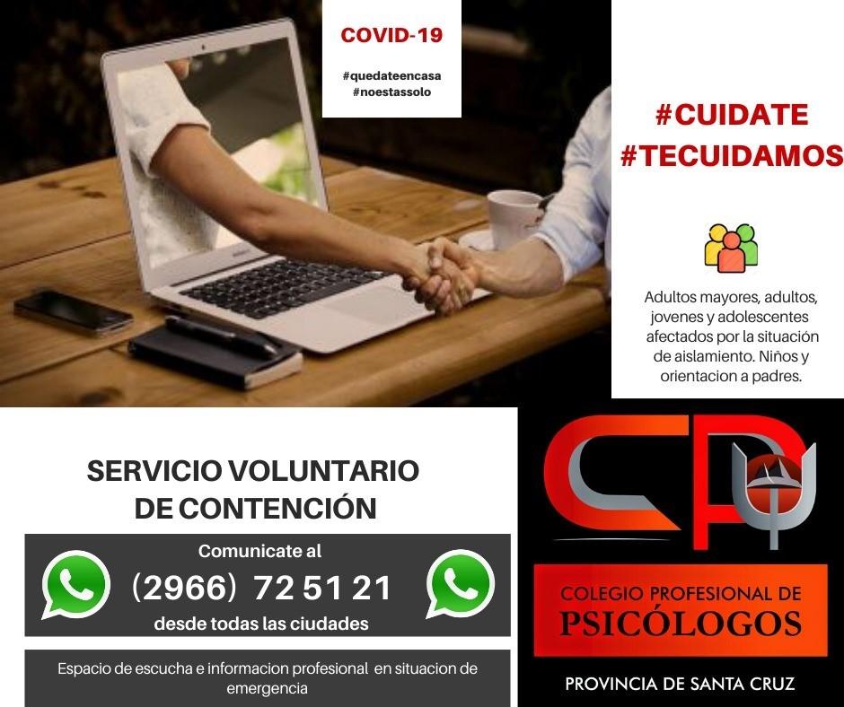 Servicio voluntario de contención ofrecida por profesionales en Psicología de la Provincia
