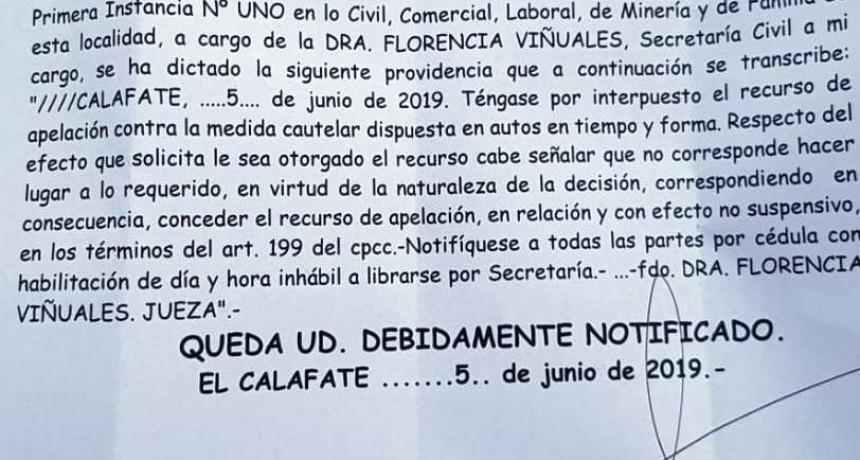 Caso Chaltén. Provincia apeló la cautelar que suspende elecciones a diputados
