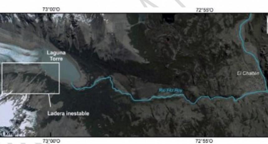 Estudian el riesgo de un potencial derrumbe masivo sobre Laguna Torre