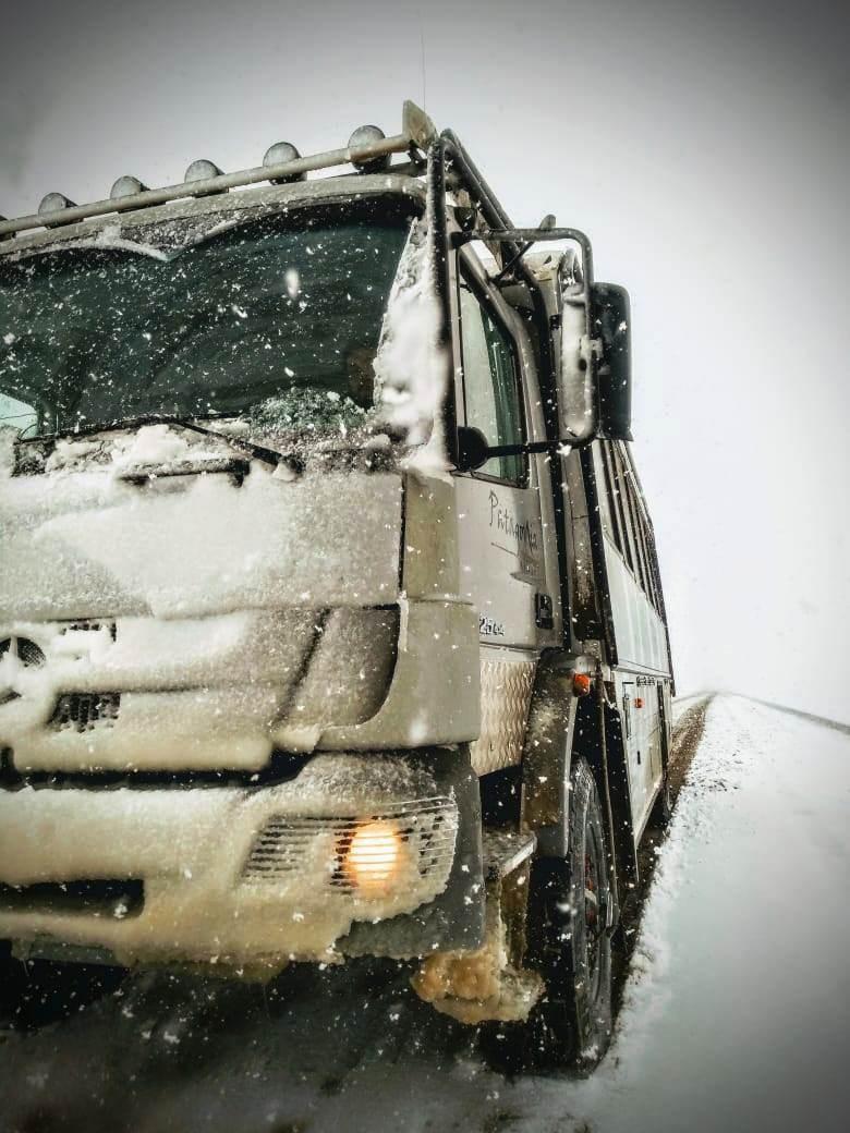 Nieve y viento complican el transito en la ruta nacional 40